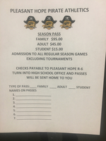 Season Athletic Passes Available at the High School Office