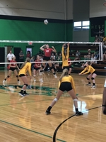 Pleasant Hope Volleyballers in action Tuesday, August 27th in Pierce City Jamboree.