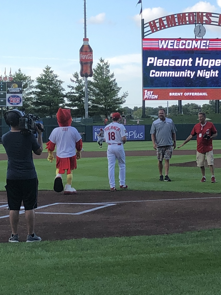 High School Principal throws out first pitch at Pleasant Hope Community Night at the Springfield Cardinals game on 8/9/19