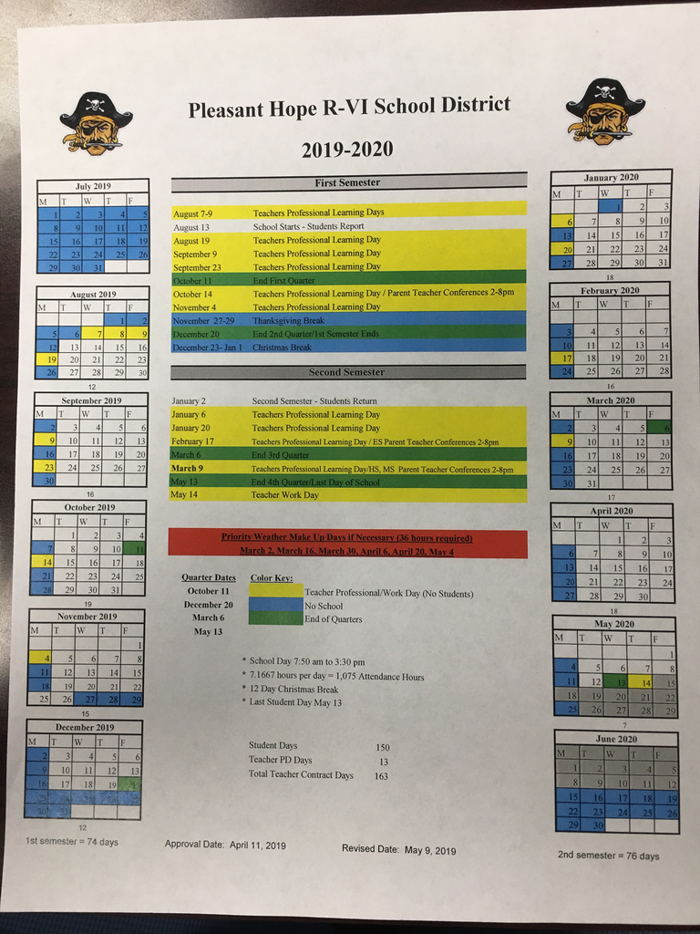 Pleasant Hope R-6 School Calendar 2019-2020