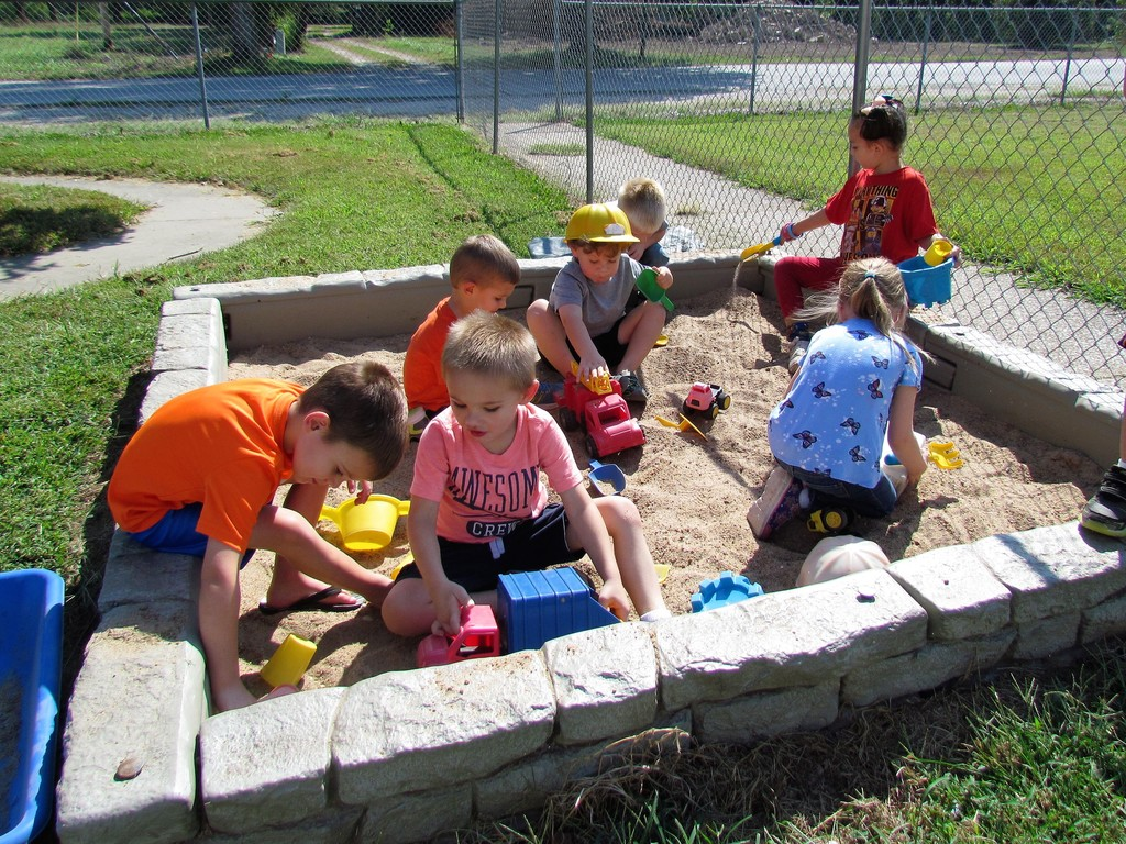 Preschool AM having fun in the sandbox!