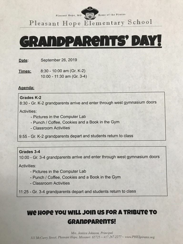 Please come join PHES as we celebrate our Grandparents.