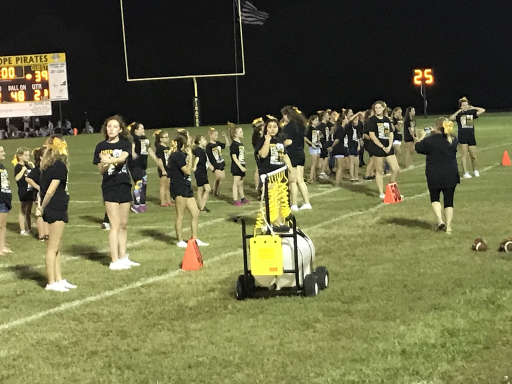 Preparing to perform at the football game