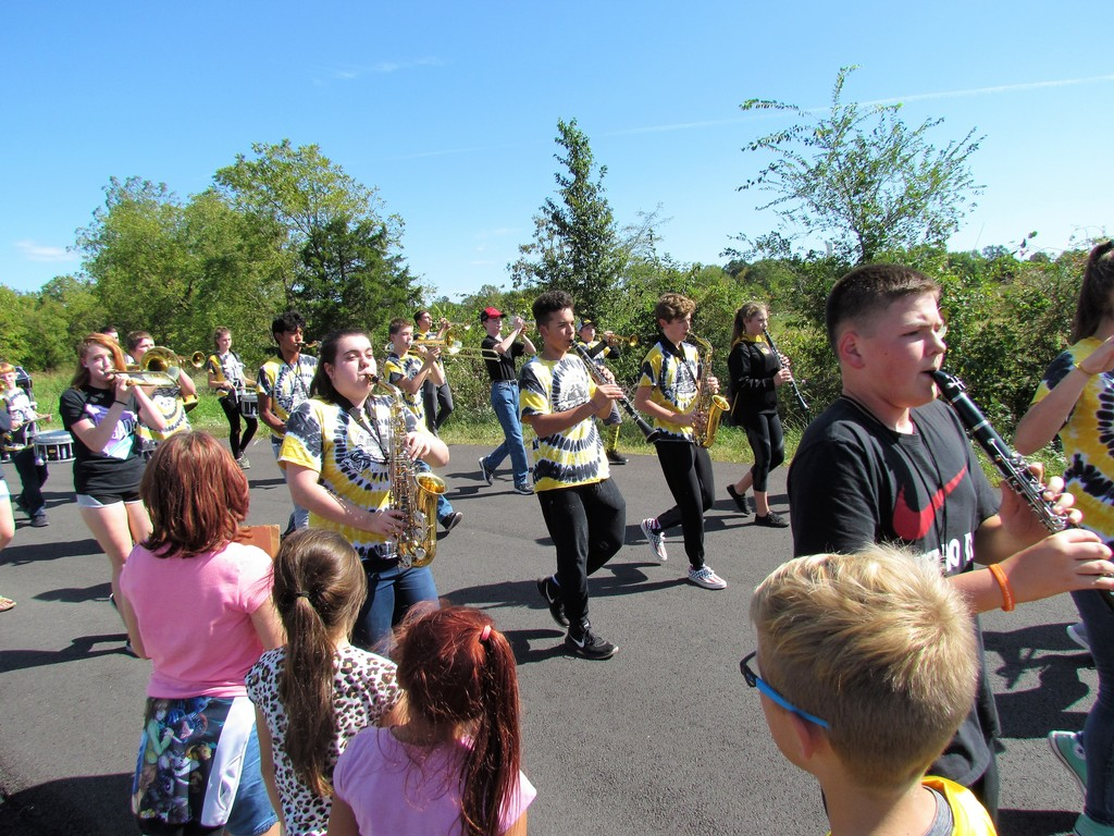 The PHHS parade band visits PHES!