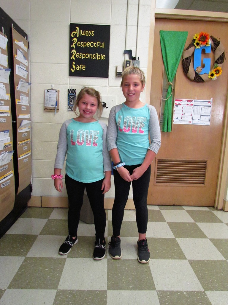 Red Ribbon Week at PHES.  First up is Twin Day!