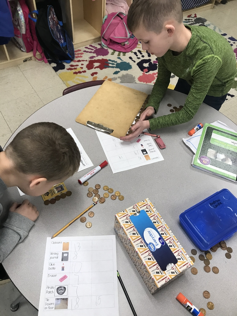 Measuring with pennies in first grade today!