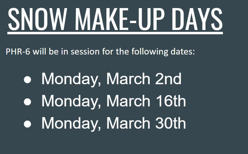 Snow Make-Up Dates
