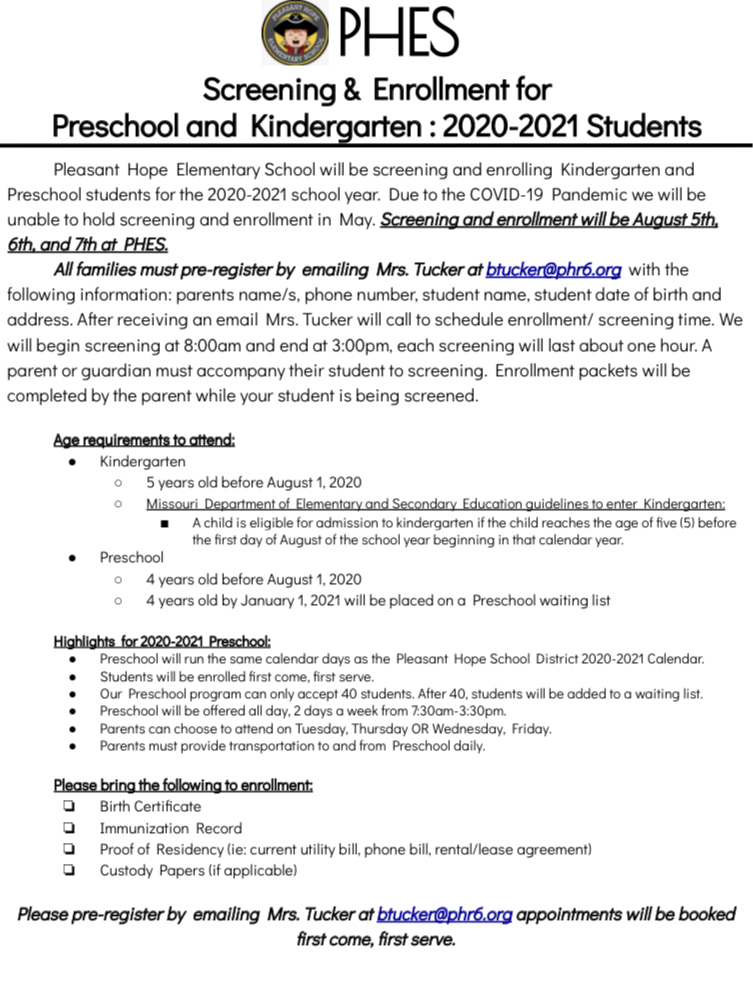 PreK & K Info for Next Year